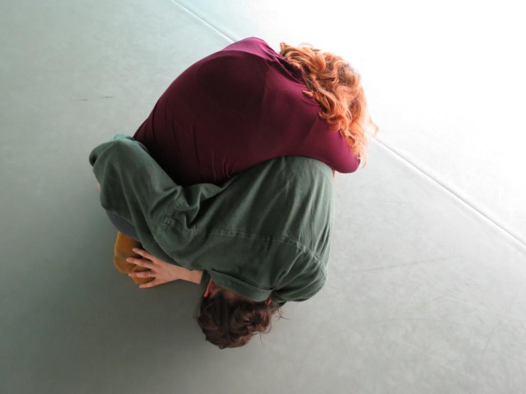 Dancers, Clementine Telesfort and Belinda Papavasiliou, performing somatic practice